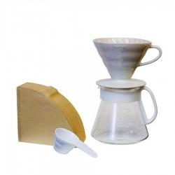 Hario - Hario V60 02 Seramik Kahve Demleme Ekipmanı Beyaz