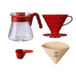 Hario - Hario V60 02 Kahve Demleme Seti Kırmızı (1)