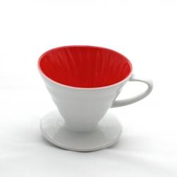 Kütahya Porselen - Kütahya Porselen V60 Üçüncü Nesil Damlama Filtre Kahve Fincanı Beyaz İçerisi Kırmızı (1)