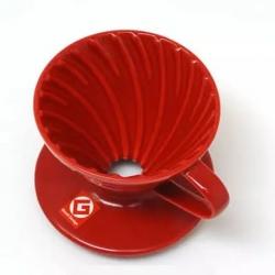 Kütahya Porselen - Kütahya Porselen V60 Üçüncü Nesil Damlama Filtre Kahve Fincanı Kırmızı